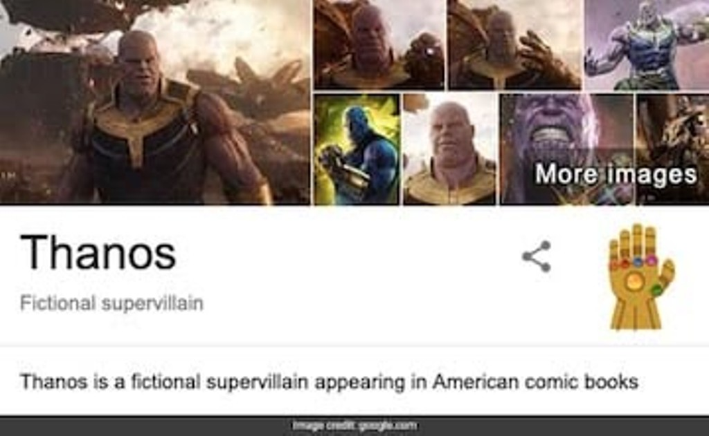 "Search ""Thanos"" on Google and he will snap away your search"